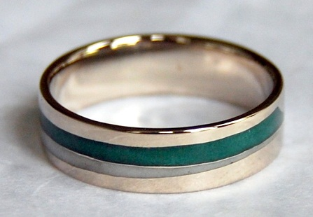 White Gold and Green Enamel Wedding Ring