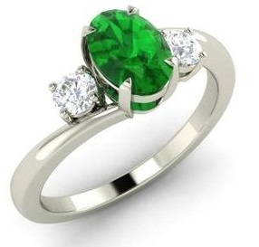 White Gold with Diamond and Emerald Engagement Ring