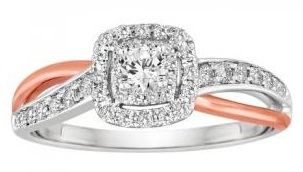 White and Pink Cross Over Wedding Ring