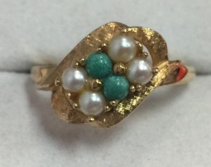 Wide Engagement Ring with White and Emerald Pearl