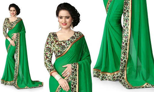 6e86e5d19ce This printed blouse is just looking awesome with green saree. The design of  blouse and border of saree is kept same. It is square neck design in blouse.