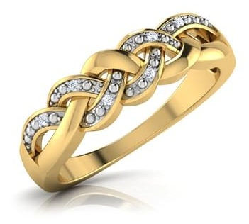 Woven Gold and Diamond studded Wedding Ring