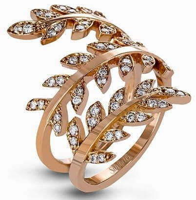 Wrap Style Leaf Shaped Trip Rose Gold Ring