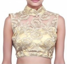 Zari Cut Work on a Beige Blouse