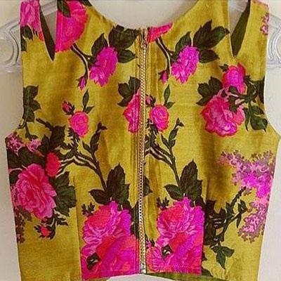 Zip Floral Design Blouses