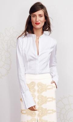 A feminine style tuxedo shirt