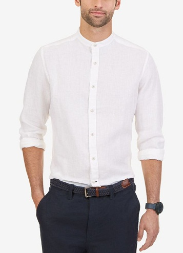 Banded Collar Long Sleeve Shirts for Men