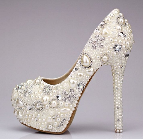 Beaded Pumps Bridal Shoes -9