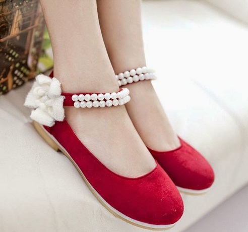 Beautiful Red Flat Shoes