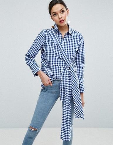 Belt layered plaid shirt