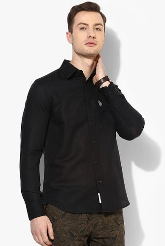 Black Casual Slim Fit Shirt