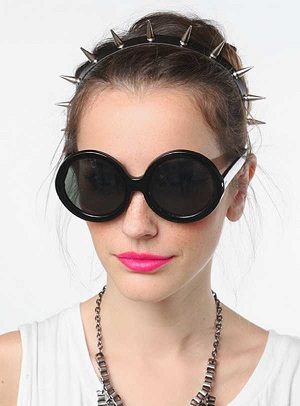Black matte extra large round sunglasses