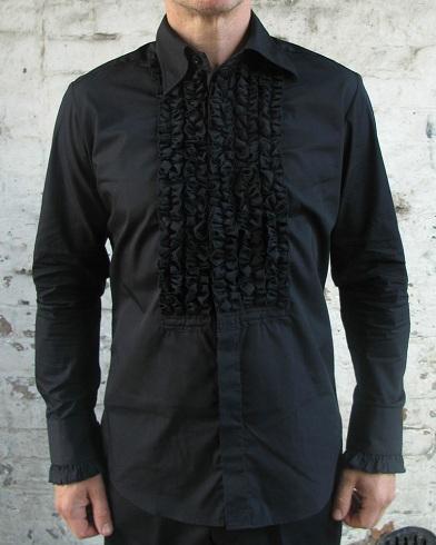 Black ruffle frilled tuxedo