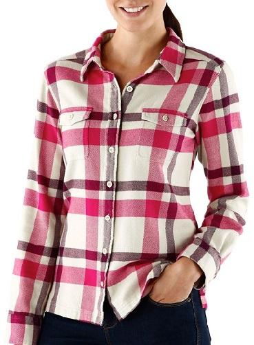 Bleached stone flannel women's shirt