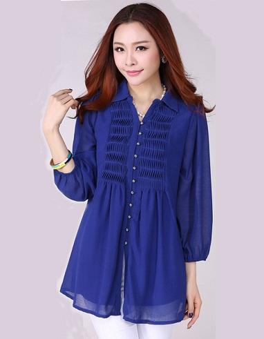 Blue Georgette Loose Long Shirt