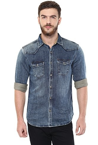 Blue Retro Slim fit shirt