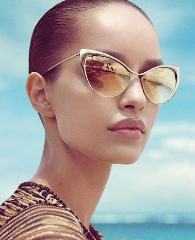 Branded Golden Cat Eye Sunglasses