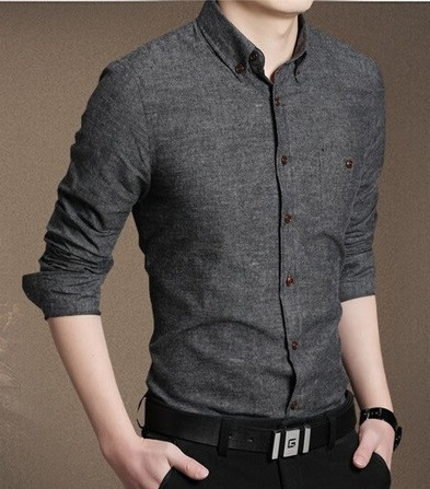Casual Dark Grey Shirt for men