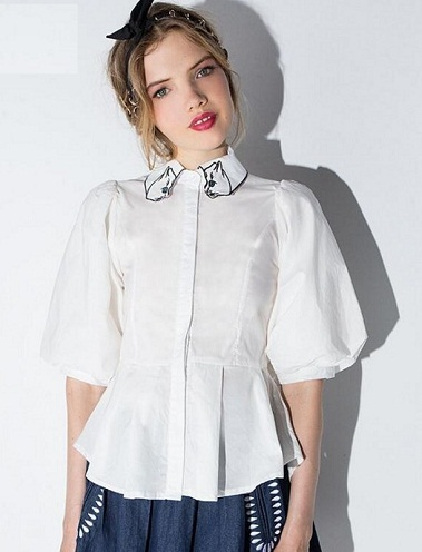 Cat Embroidery Button down Shirts for Girls