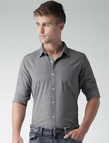 Charcoal Grey Casual Shirt for men
