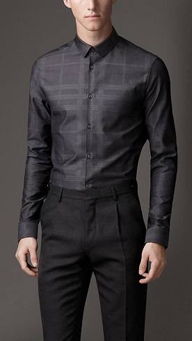 Charcoal Print Cotton Men Shirt