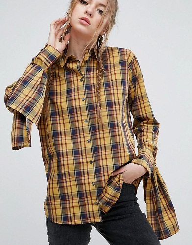 Checked Cotton Shirt with Extreme Tie Sleeves