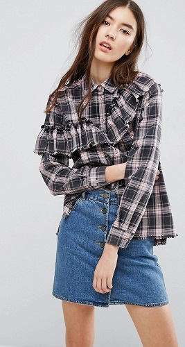 Checked Shirt With Ruffled Detail