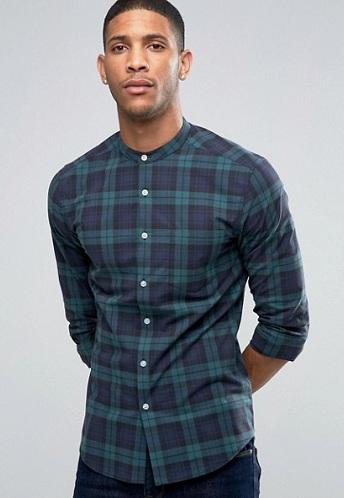 Checked grandad down Shirt