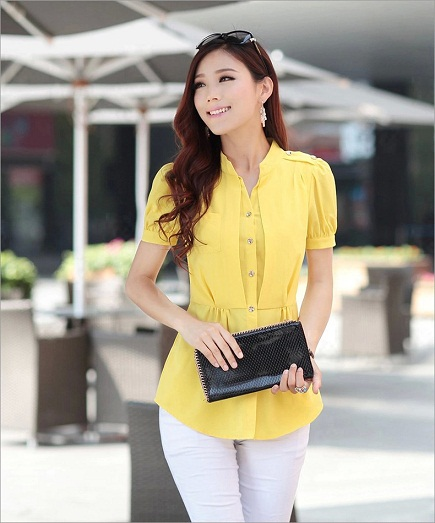 Chiffon Short Sleeve Yellow Shirt for Girls