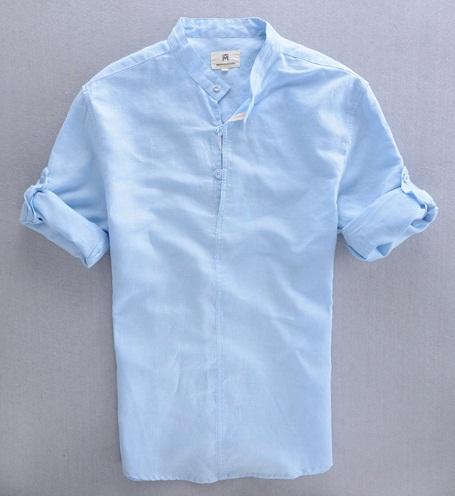 Chinese Collar Linen Shirt