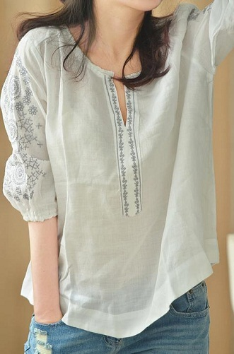 Classic Light on Light Embroidered Women's Shirt