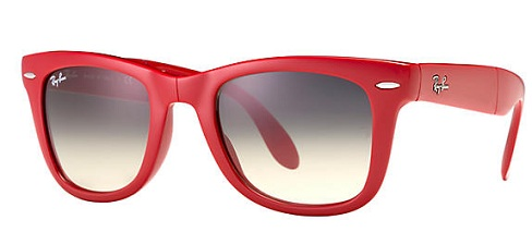 Classic Red Wayfarer Folding Sunglasses for Women