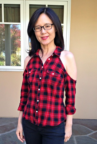 Cold shoulder flannel shirt for women