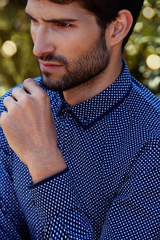 Contrast Edging Dotted Men's Cotton Shirt