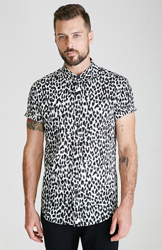 Cool Party Wear Leopard Print Button Down Shirts for Boys