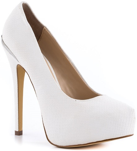 Cork heel Front Enclosed White Shoes