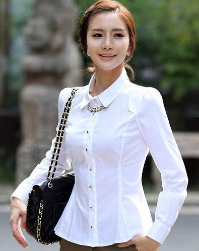 Corporate White Formal Women Shirt10