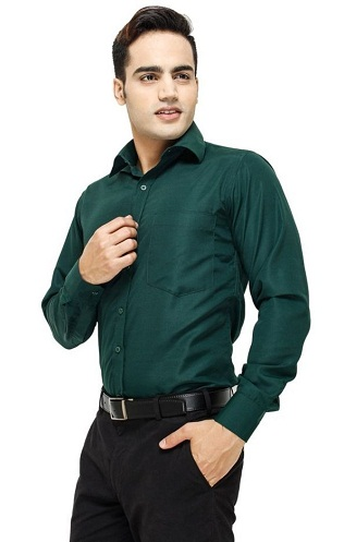 Dark Green Men Shirt