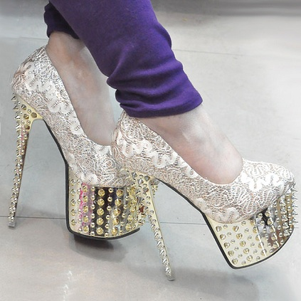 Diamond studded golden heels