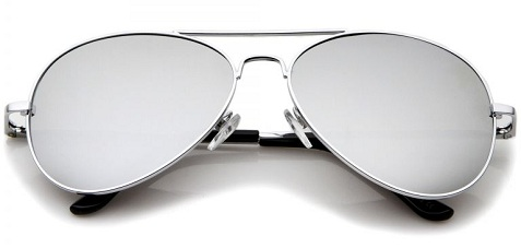 Double Beam Silver Frame Mirrored Sunglasses