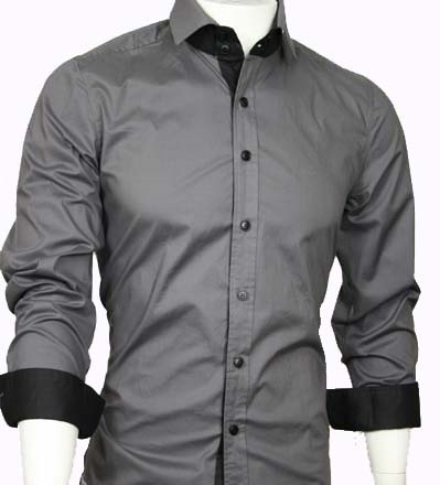 Double Collared Casual Grey Shirt for men