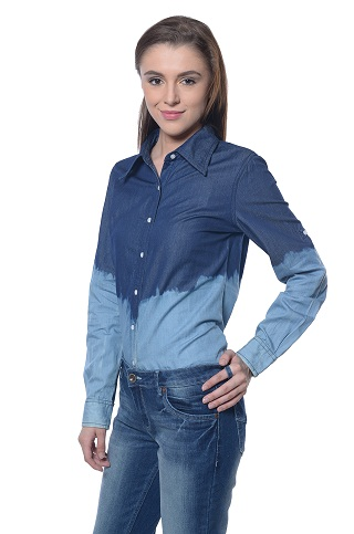 Double Shaded Smart Button Down Shirts for Women 7