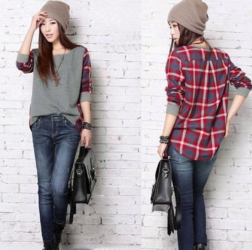 Dual pattern plaid shirt - Copy