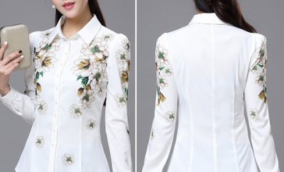 Elegant White Shirt with Floral Print