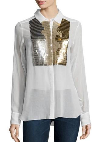 Embellished tuxedo shirt