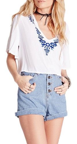 Embroidered Crop Shirt for Women