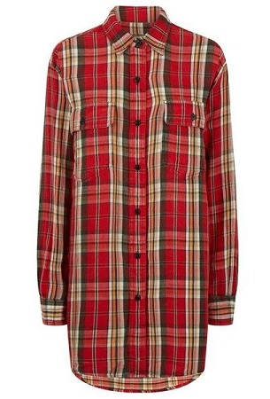 Flannel shirt dress for women