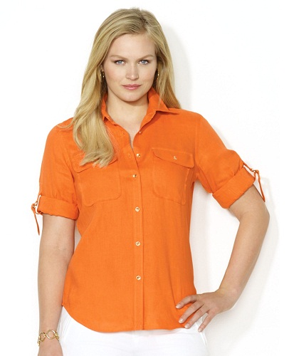 Folded Cuffs Orange Women Shirt
