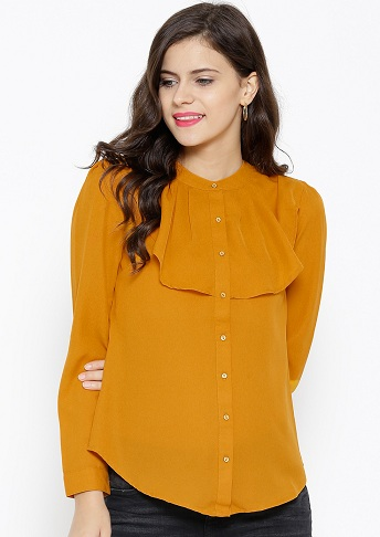 Frill collar yellow shirt for women