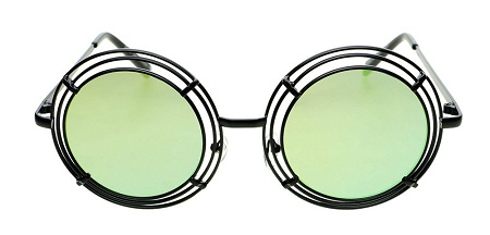 Funky Metal Circle Frame with Mirror Lens for Women